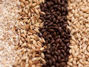 types of beer grain, crushed kernals, two row, chocolate malt, crystal malt